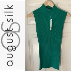 NWT August Silk Ribbed Mock Neck Sleeveless Top